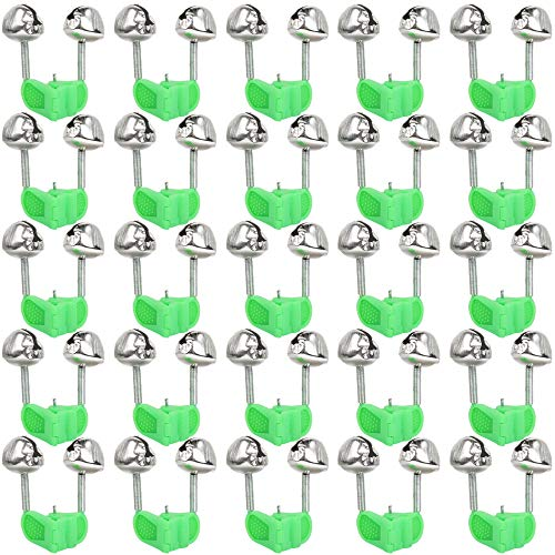 Teenitor 25 Pcs Fishing Dual Bells with Holes for Installing Night Glow Sticks, Fishing Rod Alarm Alert Bell Bite Indicators- Green