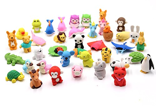 Set of 32 - FIVOENDAR Adorable Pencil Eraser Zoo Animal Collection - Children's Day Gift Party Favor Artist Supply Eraser - More Fun, Toy Kids Set