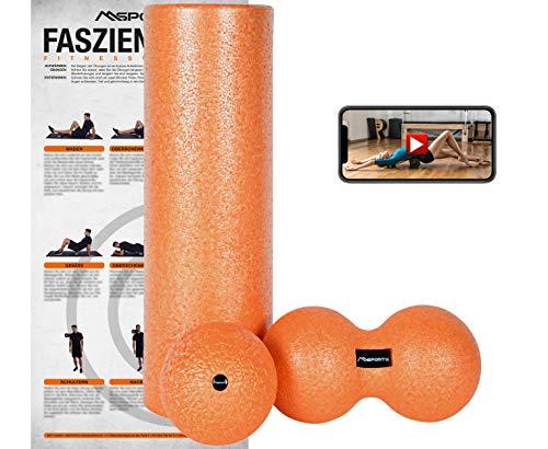 MSPORTS Faszienrolle + Massageball Premium inkl. Übungsposter + Workout App GRATIS   FASZIENSET - Professional Studio Qualität   Massagerolle Foamroller (ORANGE)