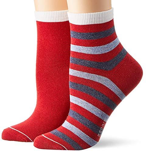 ESPRIT Damen Socken Colorful Stripe 2er Pack - Baumwollmischung, 2 Paar, Rot (Sporty Red 8003), Größe: 39-42