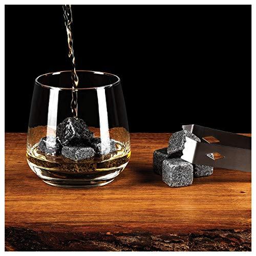 Whisky-Steine Geschenkset, 9er Set Whisky-Steine Kühlsteine aus Natürlichem Speckstein für Getränke mit Stoffbeutel Whiskey Rocks Eissteine Cooling Stones Eiswürfel, Wiederverwendbare Kühlsteine - 2