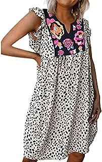 AmzBarley Women's Leopard Flower Bohemian Babydoll Dress Sleeveless V-neck Ruffle Tunic Mini Casual Dress