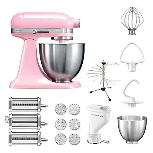 KitchenAid Robot de cocina mini, 5 ksm3311 X E, pasta del paquete incluye Top accesorios: Pasta Snoot con 3 rodillos, pasta Prensa (Corto) con 6 boquillas, nudeltrockner y accesorios estándar Guave Glaze: Amazon.es: Hogar