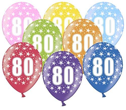 Libetui 10 kunterbunte Luftballons Nummer 80 Metallic 30cm Deko zum 80. Geburtstag Party Happy Birthday Dekoration Zahl 80