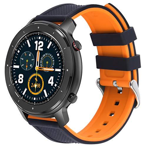 Fullmosa Bracelet de Montre en Silicone Compatible Huawei Watch ASUS Watch,Bracelet de Montre en Caoutchouc Souple avec Boucle en Acier Inoxydable,Bracelet Montre18/20/22mm à Libération Rapide