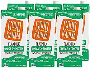 Good Karma Plant-Powered Flaxmilk, Unsweetened, 32 oz Shelf-Stable Carton (Pack of 6) Dairy-Free, Plant Based Milk Alternative