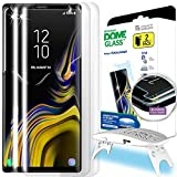 Galaxy Note 9 Screen Protector, [Dome Glass] Full 3D Curved Edge Tempered Glass Shield [Liquid Dispersion Tech] Easy Install Kit by Whitestone for Samsung Galaxy Note 9 (2018) - 2 Pack