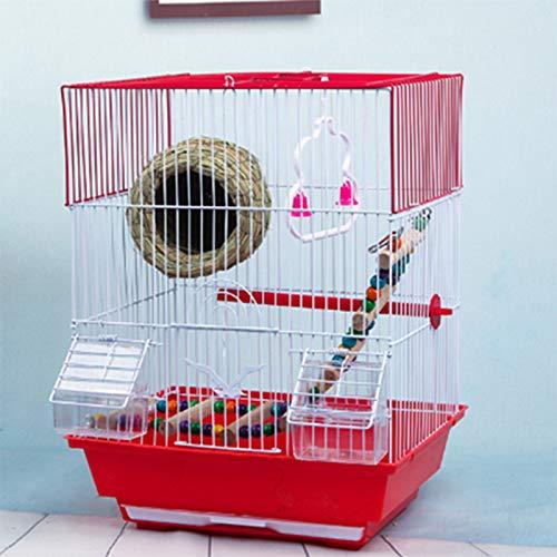 Jaula para pájaros Casitas para pájaros Cajas Nido en Soportes para petirrojos En el jardín al Aire Libre Exhibición Parrot Pet Bird Cage Caja de Comida Colgante Soporte de Hierro Forjado,Red