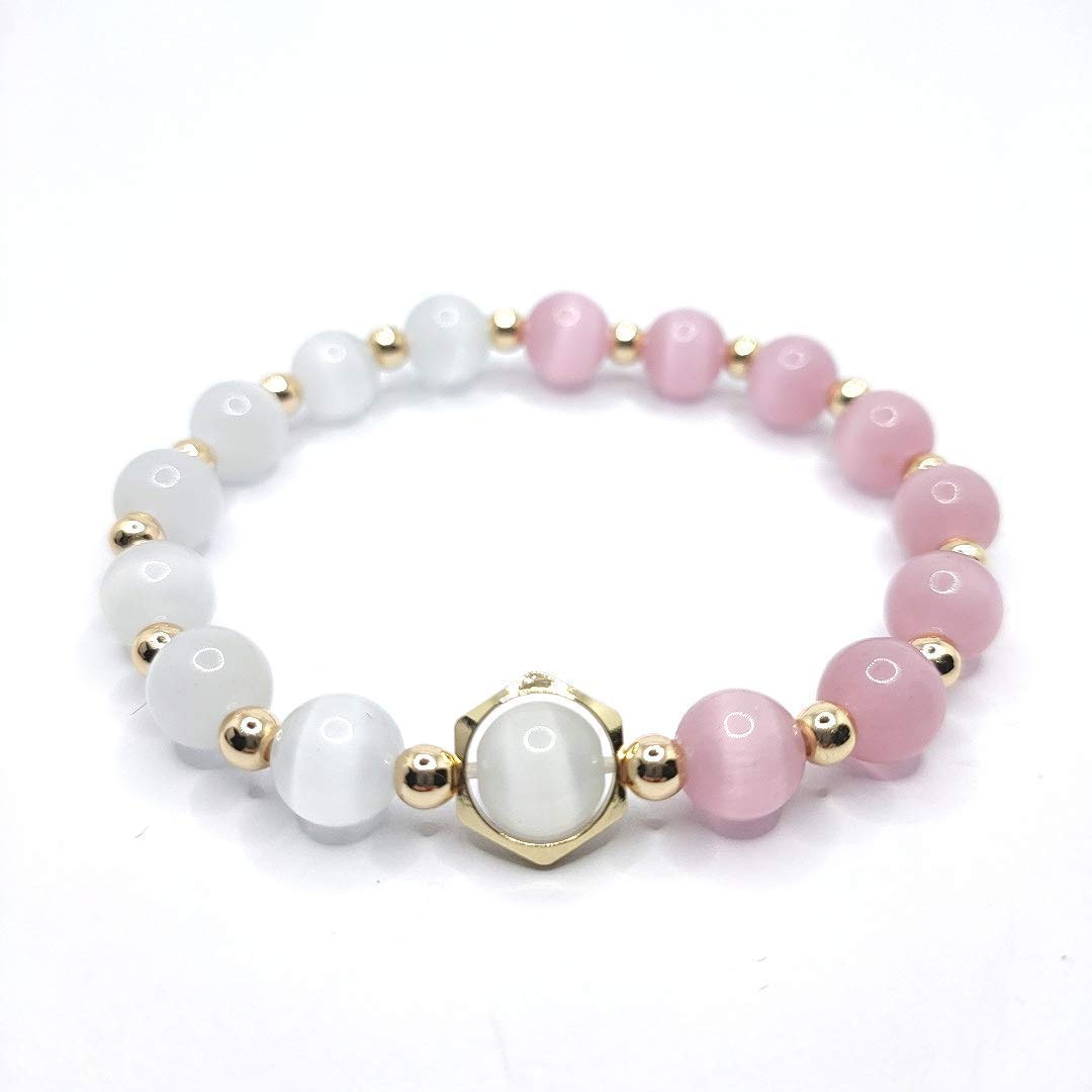 Max 58% OFF IN THE PINK Superlatite - Handmade 8mm Pink and White Cat's Eye Beaded Stret