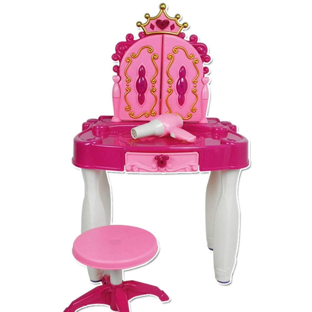Uiophjkl-Girls toy Juego de tocador para niñas Juego de Mesa y Silla de tocador para