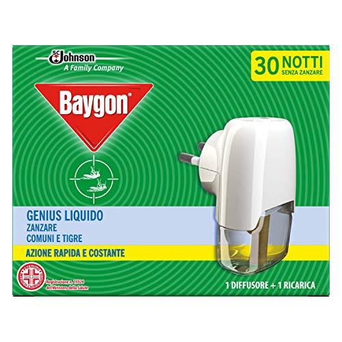 Baygon Genius Liquido, Antizanzare Tigre e Comuni, Azione Rapida, Contiene 1 Diffusore e 1 Ricarica, Durata 30 Notti