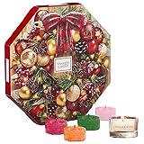 Yankee Candle set regalo Calendario dell'Avvento con 24 tea light profumate e 1 supporto per tea light in vetro, confezione regalo festiva a forma di ghirlanda