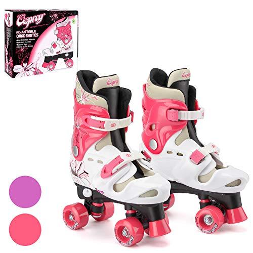 Osprey Roller Skates für Mädchen – klassische, zweispurige Rollschuhe für Anfänger – größenverstellbare, bequeme Rollerblades mit verstellbaren Schuhschnallen – sicheres Design für Kinder - Pink
