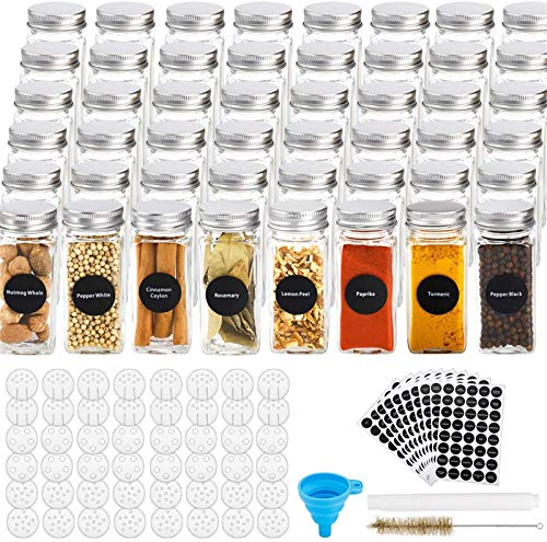 48 Pcs Glass Spice Jars with 400 Spice Labels, 4oz Square Spice Bottles with Shaker Lids and Airtight Metal Caps, Chalk Marker and Funnel Included