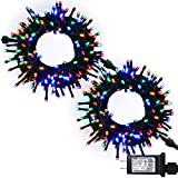 JMEXSUSS Christmas String Lights Multicolor, 183ft 500 LED Green Wire Waterproof Fairy String Lights with 8 Lighting Modes, LED Lights Christmas Decorations Clearance (250 LED Light Bulbs x 2)