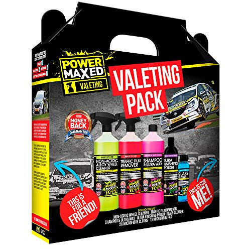 Power Maxed Car Valeting Pack - Car Care Gift Set Ideal for Christmas, Birthday, Anniversary Him Her