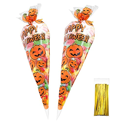 120 Counts Pumkin Cone Bag Halloween Pumpkin Patterned Cone Cellophane Bags Treat Candy Bags with 120 Pieces Gold Twist Ties for Halloween Party Favor