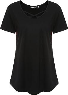 MIOIM 半袖 Tシャツ 丸首 伸縮 やわらか シンプル 無地 トップス カットソー 背中柄 シンプル 着痩せ レディース 夏 普段着 部屋着 スポーツ