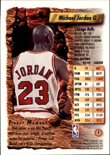1993-94 Topps Finest #1 Michael Jordan NBA Basketball Trading Card Chicago Bulls