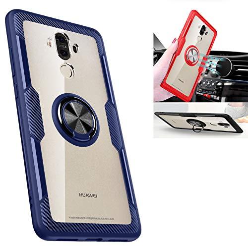 Huawei Mate 9 Transparente , 360 ° drehbarer Ring-Ständer, aus TPU & Polycarbonat, stoßdämpfend, Doppel-Schutz, kompatibel mit [magnetischer Autohalterung] für Huawei Mate 9 Hülle, blau / schwarz