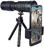 Telescopio monocular portátil con soporte para teléfono y trípode, para smartphone, observación de aves, caza, camping