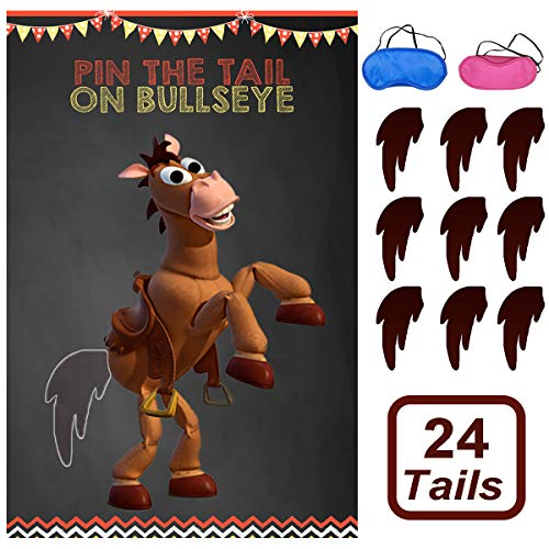 Toy Inspired Story Party Supplies, Pin The Tail On Bullseye Party Game Large Poster 24PCS Reusable Tails Sticker for Kids Boys Birthday Party