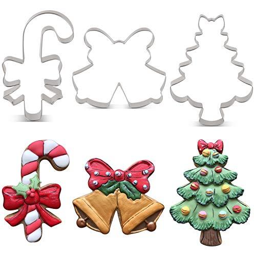 KENIAO Cortadores Galletas Navidad Invierno - 3 Piezas - Árbol de Navidad con Lazo, Bastón de Caramelo con Lazo y Campana Doble Moldes Galletas - Acero Inoxidable