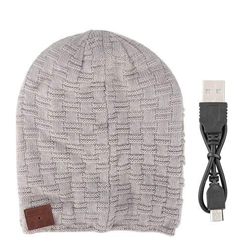 Eosnow Auriculares Bluetooth Auriculares Cable USB Sombrero Inalámbrico BT Sombrero Auriculares inalámbricos Workman Reproducir música en línea(Light Grey)