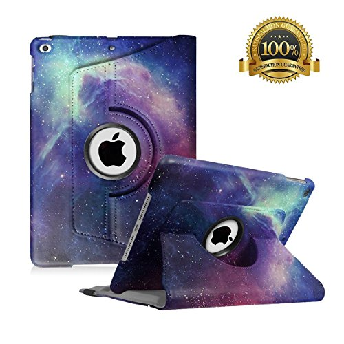 Hsxfl New iPad 9.7 inch 2018 2017/ iPad Air Case - 360 Degree Rotating Stand Smart Cover Case with Auto Sleep Wake for Apple iPad 9.7' (6th Gen, 5th Gen)/iPad Air (Galaxy)