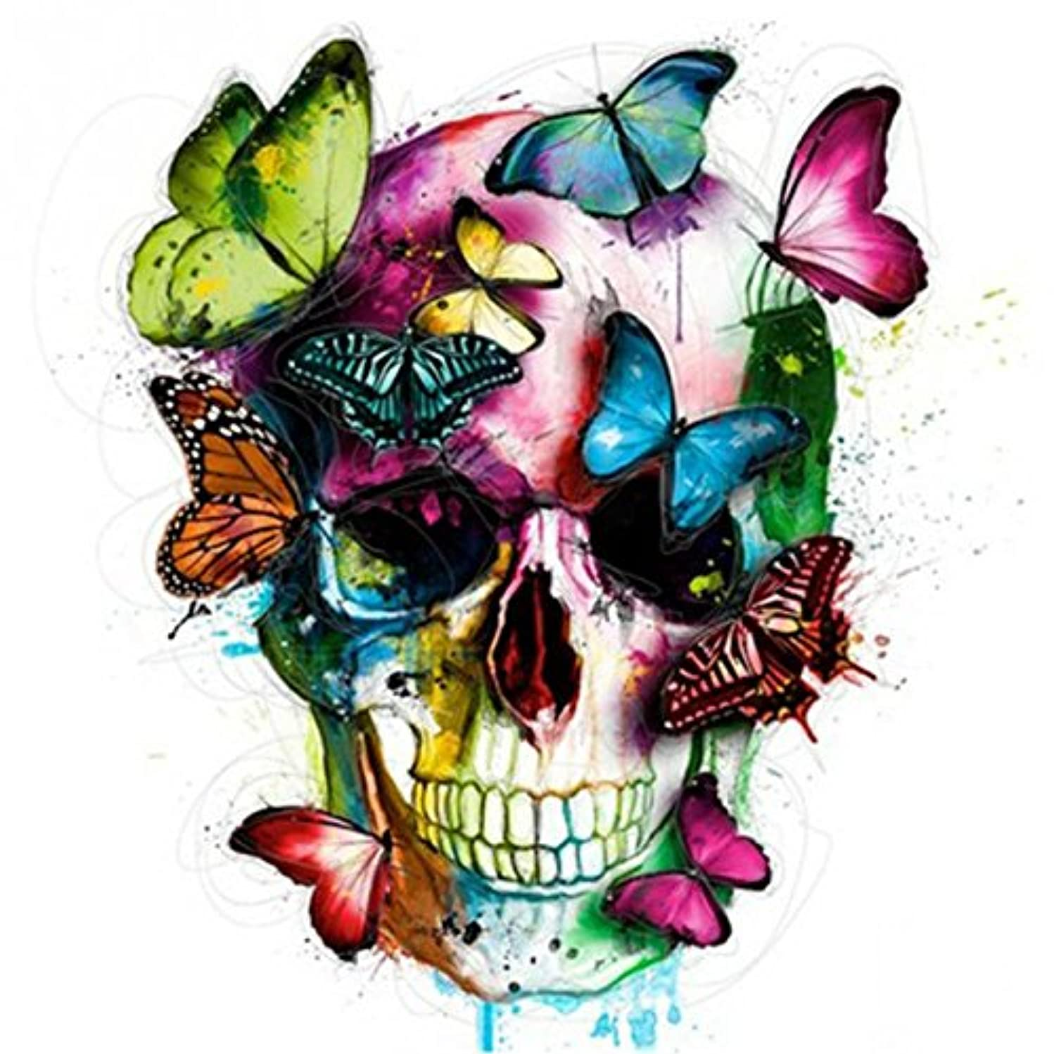 Farsla Butterfly Skull 5D DIY Diamond Home Decor Picture full round Rhinestone Colorful Portrait Mosaic Needlework Painting for Wall Decor 12X12inch