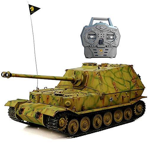HOOBEN RTR RC Panzer Deutscher Komplettsatz 1/16 Elefant Jagdpanzer Ferdinand Volle Funktion AFV (montiert und tarnt lackiert) mit Metallgetriebe, Kettenrad, Umlenkrolle ,Aufhängung D6614F