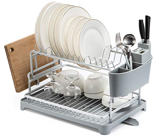 Dish Drainer- Aluminum Dish Drying Rack for Kitchen Counter Top, 15.8 x 11.2 x 4.4 inch Champagne Gold Color Plate Rack Never Rust, Dish Drain Board with Adjustable Swivel Spout and Utensil Holder