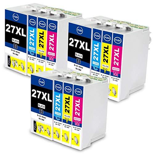 Jagute 27XL Patronen Ersatz für Epson 27 XL Druckerpatronen Kompatibel mit Epson Workforce WF-3620 WF-7720 WF-3640 WF-7715 WF-7710 WF-7620 WF-7610 WF-7210 WF-7110 (3 Schwarz, 3 Blau, 3 Rot, 3 Gelb)