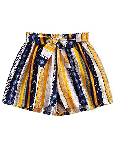 Milumia Women Boho Shorts Elastic Waist Loose Fit Casual Belted Wide Leg Shorts Yellow Small