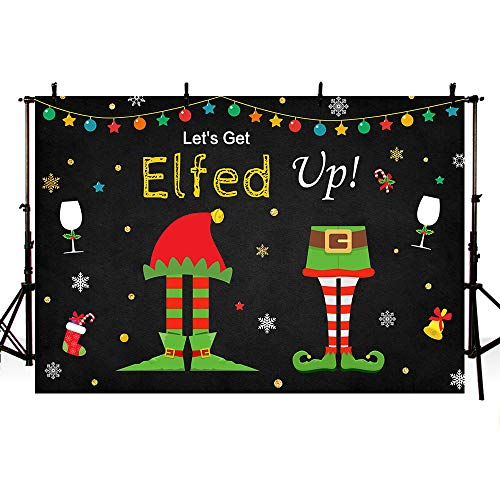 MEHOFOTO 7x5ft Elf Christmas Birthday Party Black Photography Background Snowflake String Lights Glitter Let's Get Elfed Up Backdrops Winter Holiday Party Decoration Banner Photo Booth Props