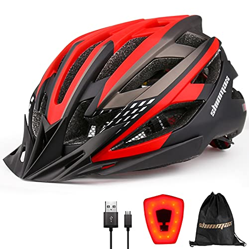 Shinmax Fahrradhelm Herren Damen Fahrradhelm mit USB Licht,21 Lüftungslöcher Fahrradhelm mit Visier,Leichter Einstellbar für Unisex Erwachsene Rennradhelm CE Zertifikat Fahrradhelm Herren MTB 57-62CM