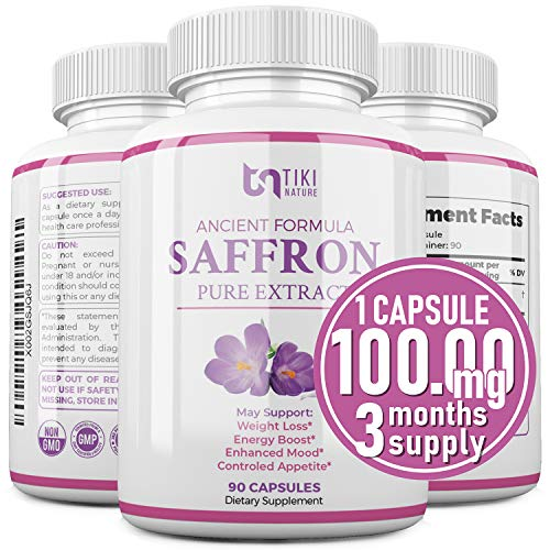 Saffron Extract Supplement 100mg - Powerful Appetite Suppressant for Weight Loss Eye & Heart Health Support - Organic Anti-Stress Energy & Mood Booster for Men & Women - 90 Veggie Pills