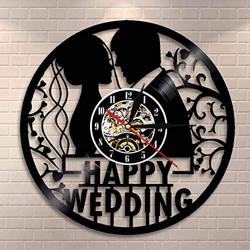 Reloj de pared de 1 año de boda aniversario de decoración personalizada 1er aniversario Vintage matrimonio disco de vinilo reloj de pared regalo de San Valentín