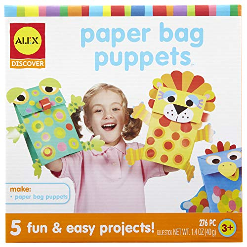 Alex Discover Paper Bag Puppets Kids Art and Craft Activity Multicolor