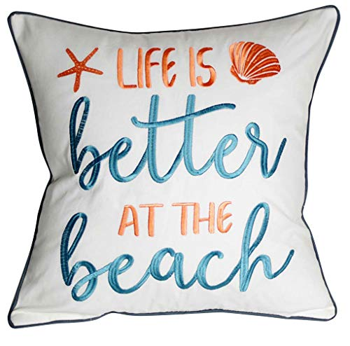DECOPOW Embroidered Life is Better at The Beach Throw Pillow Cover,Square 18 inches Decorative Canvas Pillow Cover with Life is Better at The Beach Pattern,Cover Only