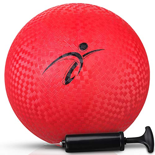 Fitness Factor Red Playground Kickball with Air Pump for Inflatable, Perfect Rubber Bouncy Dodgeball for Indoor, Outdoor Ball Games, Official Size Four Square Ball and Handball for Kids 10 Inch (Red)