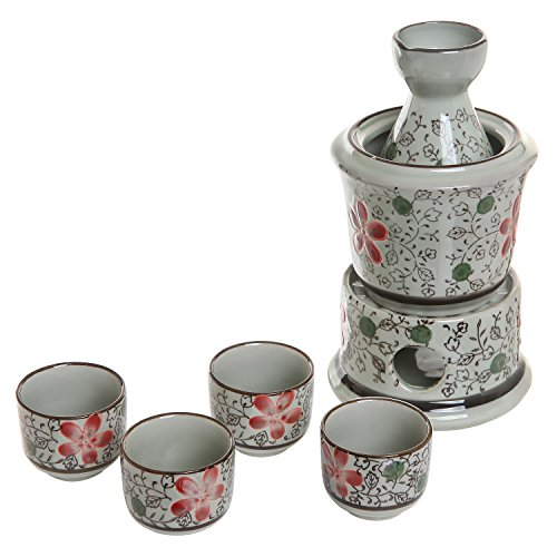 Exquisite Ceramic Red Flowers Japanese Sake Set w/ 4 Shot Glass/Cups, Serving Carafe & Warmer Bowl