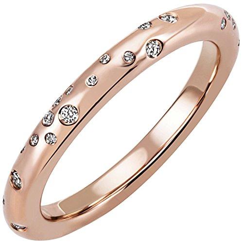 JOBO Damen Ring 585 Gold Rotgold Roségold 34 Diamanten Brillanten Diamantring Größe 58