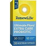 Renew Life Adult Probiotics 30 Billion CFU Guaranteed, 12 Strains, For Men & Women, Shelf Stable, Gluten Dairy & Soy Free, 30 Capsules, Ultimate Flora Extra Care
