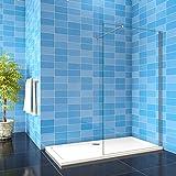 walk in parete fissa per box doccia in cristallo temperato 8 mm anticalcare trasparente inclusa barra stabilizzatrice tagliabile da 90 cm 140x190cm