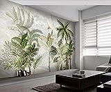 Carta Da Parati 3D Pappagallo Tropicale Della Pianta Della Foresta Pluviale Disegnata A Mano 3D Foto Murale Moderna Fotomurali Decorazioni