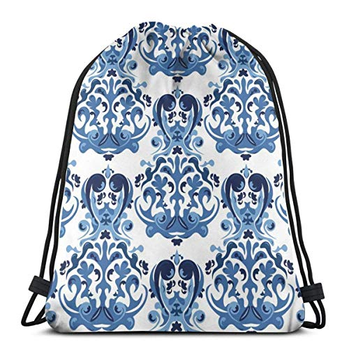 XCNGG Sporttasche Kordeltasche Reisetasche Sporttasche Schultasche Rucksack Seamless Blue Pattern Gym Bag Travel Drawstring Backpack Men & Women Sport Bag Portable Storage Bag for Camping Hiking Swimm