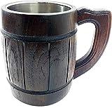 oak beer mug - Handmade Beer Mug Oak Wood Stainless Steel Cup Carved Natural Eco-Friendly Antique style-Fashioned Brown - 20 oz
