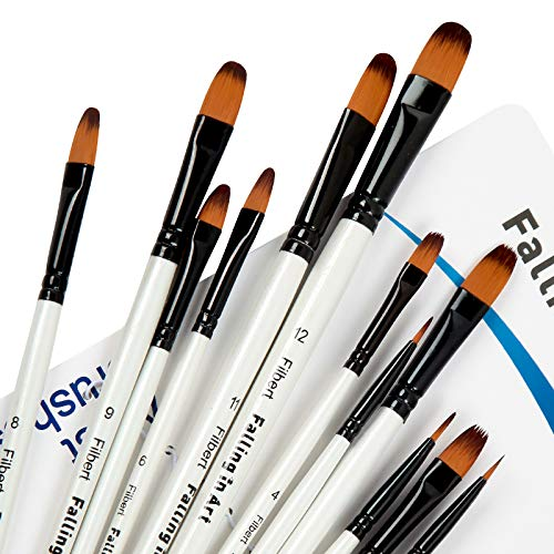 Falling in Art Paint Brushes Set, 12 PCS Nylon Professional Filbert Paint Brushes for Watercolor, Oil Painting, Acrylic, Face Body Nail Art, Crafts, Rock Painting