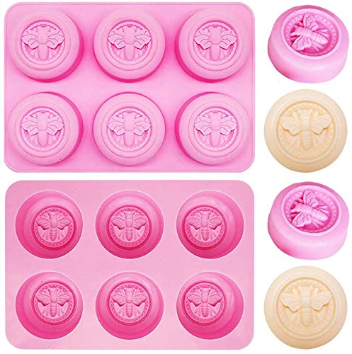 INTVN 2Pcs Moules à Savon en Forme d'abeille 3D 6 cavités moules en Bee Silicone Molds, Honeycomb Molds pour Savon, Cupcakes et Muffins pour Artisanat Maison – Rose